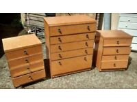 RETRO/VINTAGE BEDROOM SET - CHEST OF DRAWS(5 DRAWS) AND 2 BEDSIDE CABINETS