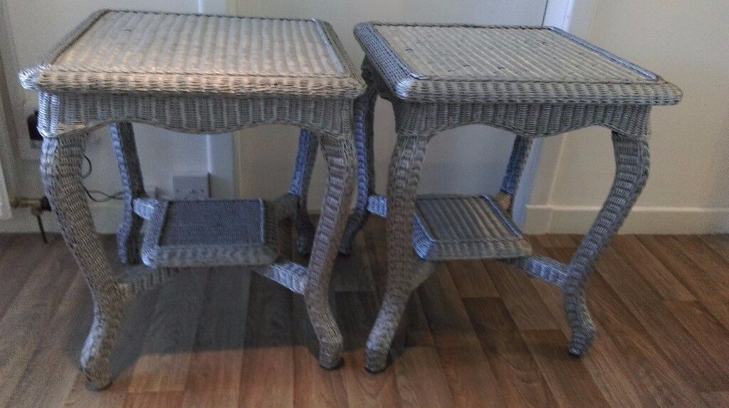 Grey side tables x 2