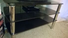 BLACK GLASS AND CHROME TV STAND AND DISPLAY UNIT