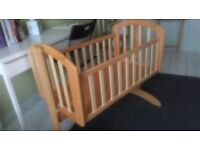 Wooden baby cradle