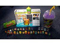 Grossery gang series 1 Yucky Mart playset and Mushy Slushy cup and Vile Vending Machine