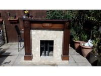 Marble hearth and fire surround with heavy matle piece