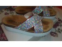 Glitter flatform sandals from office.