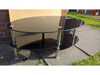 Oval, Tempered Glass, Black/ Silver Coffee Table (with under shelves)