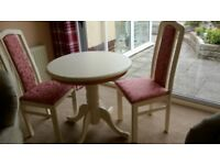 Cream hand painted table and chairs