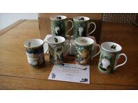 Set of 6 fully packaged Lesley Anne Ivory cat mugs, including certificate of authenticity