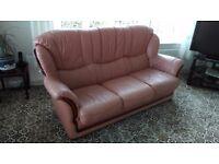 Italian Leather & Mahogany three piece....