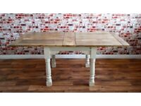 Extendable Rustic Reclaimed Painted Extending Farmhouse Dining Kitchen Table -3 ft - 6 ft