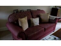 3 seater sofa and 2 x armchairs. In wine colour Dralon.