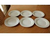 6 Staffordshire White Side Plates