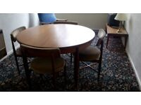 G-Plan teak round textending table and chairs