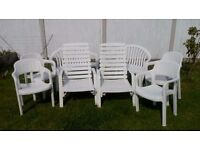GARDEN WHITE PLASTIC BENCHES & CHAIRS