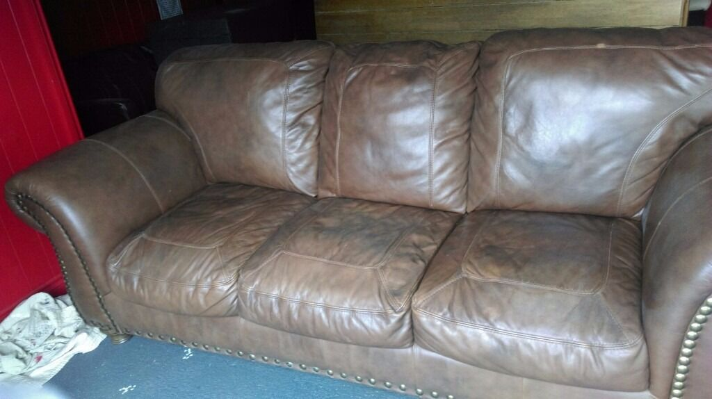Admirable Brown Leather 8 Ft Sofa In Downpatrick County Down Gumtree Short Links Chair Design For Home Short Linksinfo