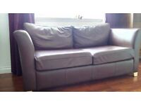 Sofa double bed in brown leather