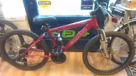 Carrera Girls full suspension mountain bike alloy frame, 18 grip shifter gears