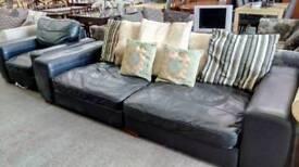 Scs black leather 2 piece suite. Excellent condition