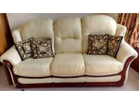 Cream 3 Seater Settee with Mahogany Wood