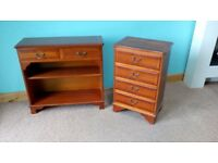 chest of drawers and 2 drawer shelving unit