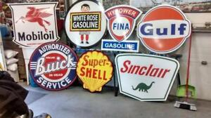 BIG GASOLINE  SIGNS  BEER AND SODA COLLECTIBLES