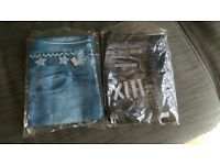 Women Denim Leggings Pants Jeans Blue & Black, pack of 2