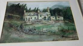 Hand painted oil of farm house