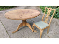 Pine Oval Dining Table and 4 Chairs