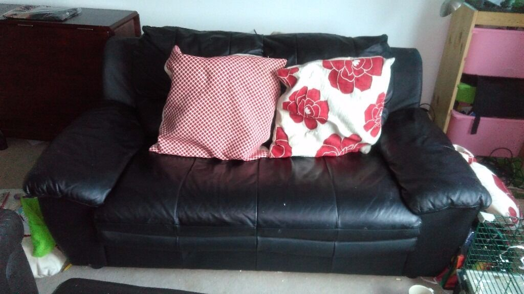 2 seat black leather sofa cushions not included | in Milnthorpe ...
