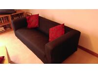 Ikea Klippan 3 seater settee with black cover.