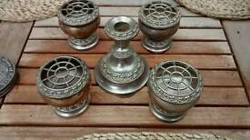4 SILVER PLATED Rose bowls and 1 Silver plated candle stick holder