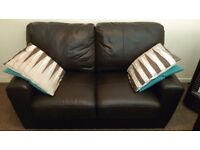 2 seat chocolate brown faux leather sofas x 2