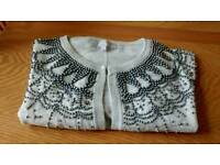 Brand New Size 12 Pale Grey Beaded Short Sleeved Cardigan
