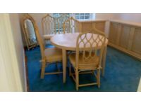 Cane dining room suite table, 8 chairs & 3 sideboards