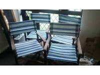 4 DIRECTORS WOODEN CHAIRS WITH BLUE/WHITE SEATING