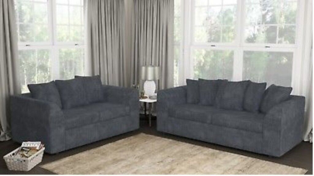 Jumbo Cord Corduroy Fabric Sofa Settee Couch 2 3 Seater