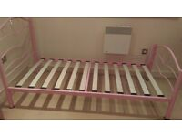 Almost new single bed, iron body, pink headrest, very less used, for sale in chatham