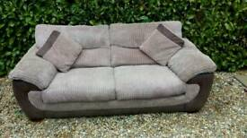 Beige 3 seater soft cord sofa