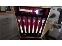 Silver Plated Fish Knives and Forks Boxed Engraved