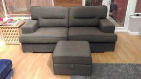 3 seater couch with footstool, 2 yrs old