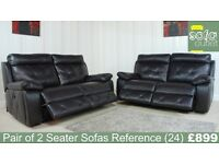 Designer Brown Leather pair of 2 seater sofas (24) £899