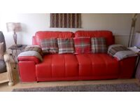 Red faux leather sofa - REDUCED AGAIN - £60