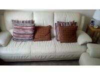 Cream leather sofa and armchair - good condition