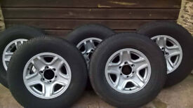 5 Toyota Landcruiser/ Hilux alloys with tyres in Excellent condition