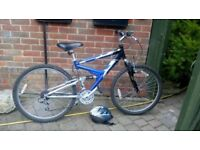 Raleigh Dorado Blue and Silver Bicycle, 17 inch frame, 24 inch wheels