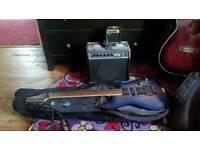 Ibanez S470 DXQM electric guitar blue/purple + amp + accessories