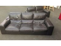 BROWN LEATHER 3,2 SEATER AND LARGE POUFFE GOOD CONDITION