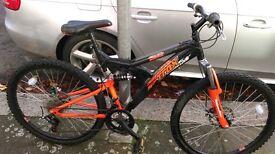 Trax TFS.2D Full Suspension Black And Orange Mountain Bike Bicycle, £80