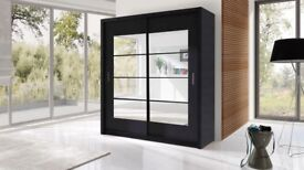 Brand New 2 Door Sliding Wardrobe with Mirror, Shelves, Hanging Rails in Oak, White, Black, Walnut