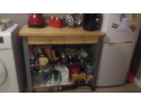WOODEN TOP KITCHEN TROLLEY