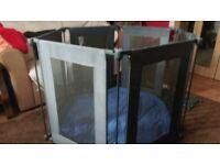 Lindam hexagonal gray playpen, blue mat, and wall fixing kit