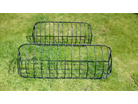 2 x black forged steel window baskets